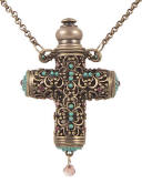 True Love Perfume Cross Necklace With Turquoise Accents